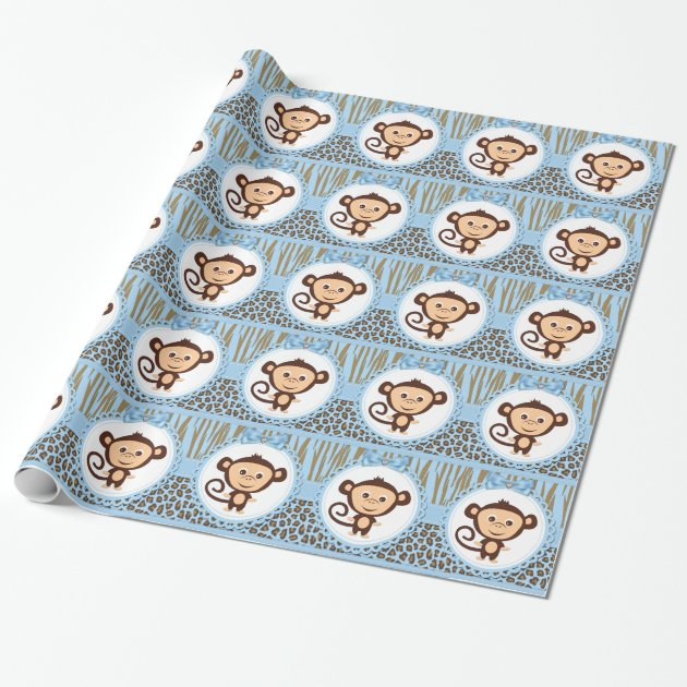 Boys Monkey Baby Shower Wrapping Paper Mimogifts Com