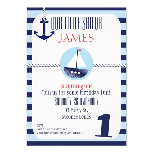 Personalized Nautical 1st Birthday Invitations