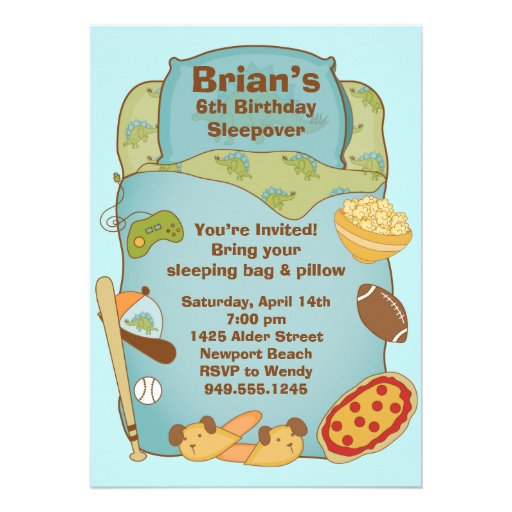 Personalized Slumber Party Invitations