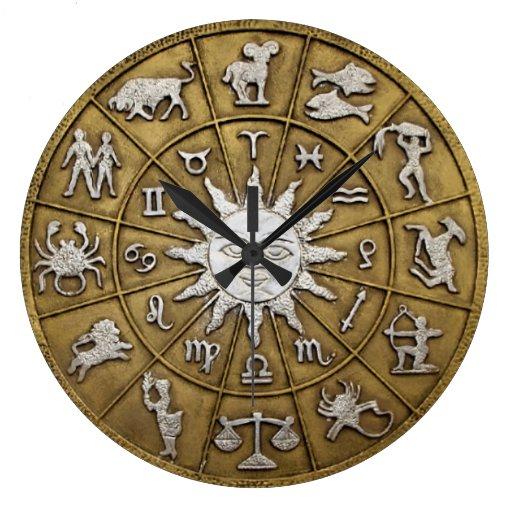 Brass Zodiac Wheel Large Clock Zazzle