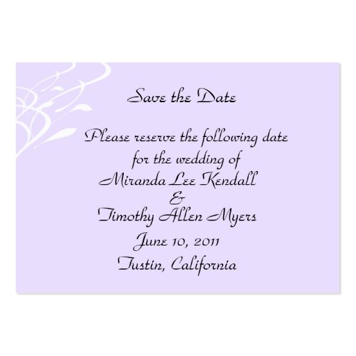 Breathless light lavendar mini save the date card business for Business save the date templates free