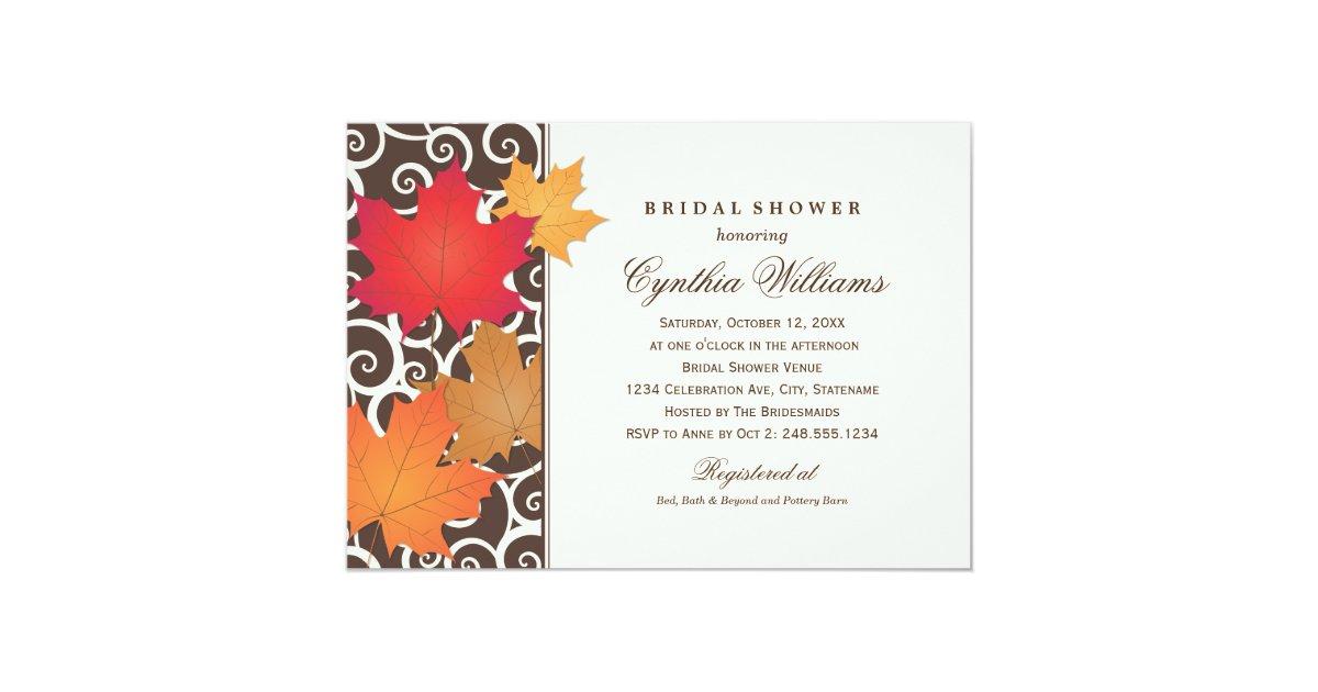 Fall Wedding Shower Invitations: Bridal Shower Invitation