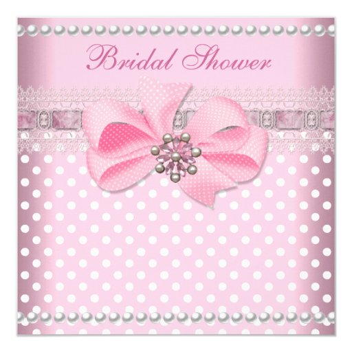 Pearl And Lace Wedding Invitations: Bridal Shower Pink Spot Pearl Lace Wedding Invitation