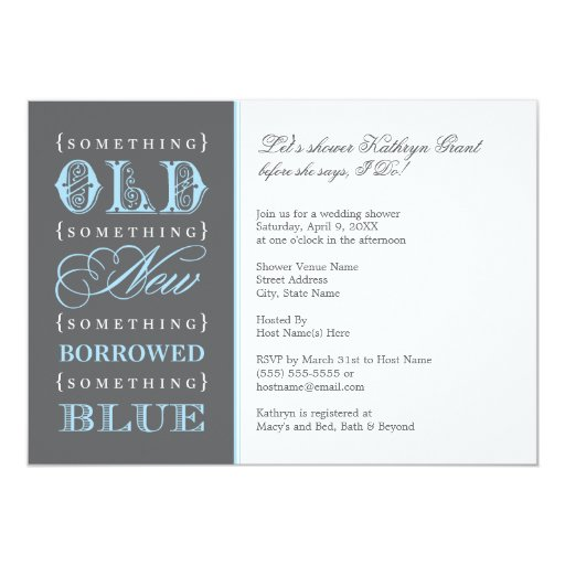 Something Old New Borrowed Blue Card
