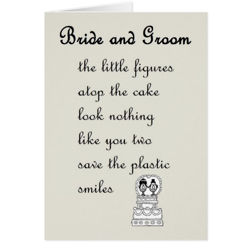 Wedding Poems For Bride And Groom: Bride And Groom - A Funny Wedding Poem Card