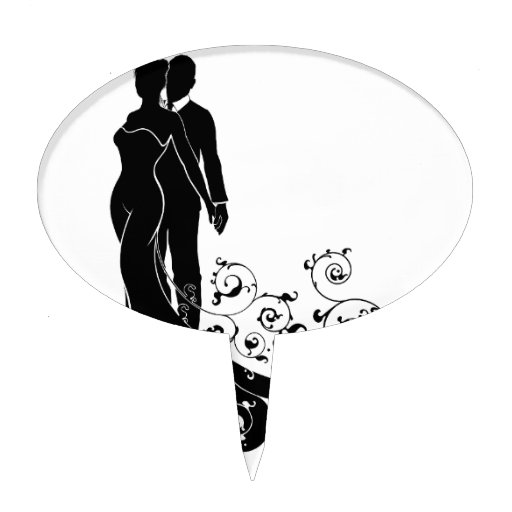 Bride and Groom Abstract Wedding Silhouette Design Cake ...