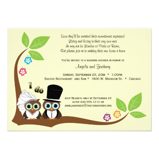 "Bride And Groom Tree Owls Wedding Shower Invite 5"" X 7"