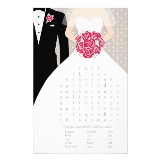 bride bridal shower word search game red dress flyer zazzle. Black Bedroom Furniture Sets. Home Design Ideas
