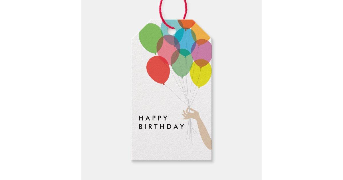 Balloon Tag: Bright Balloons Happy Birthday Gift Tag