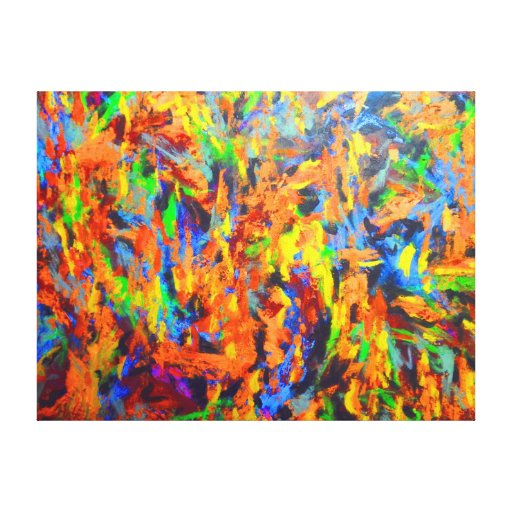 Bright Colorful Multicolor Abstract Art Painting Stretched ...