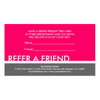 refer a friend email template - bright pink gray simple refer a friend cards business card