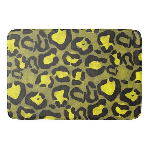 Bright Yellow Bathroom Colors: Bright Yellow Grunge Cheetah Bath Mat