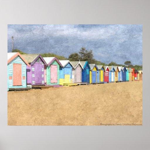 Inspiration Hut Grid Paper: Brighton Beach Huts Poster