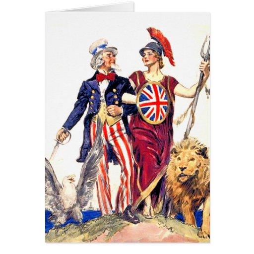 Britannia and Uncle Sam Greeting Card   Zazzle