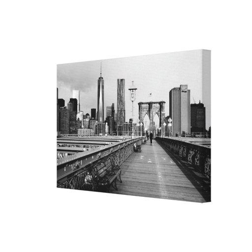 Brooklyn bridge black and white canvas print | Zazzle