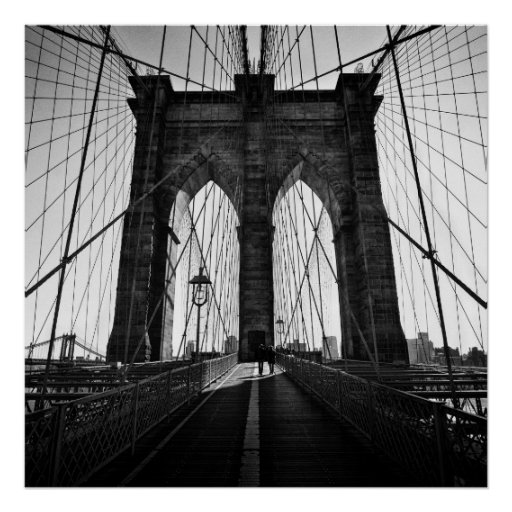 Brooklyn bridge black and white poster | Zazzle