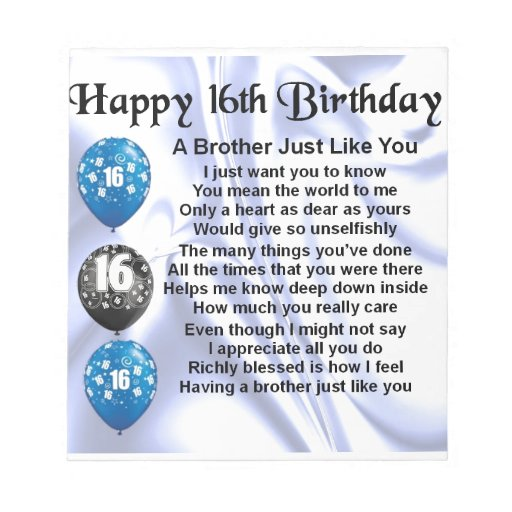 Brother Poem 16th Birthday Notepad