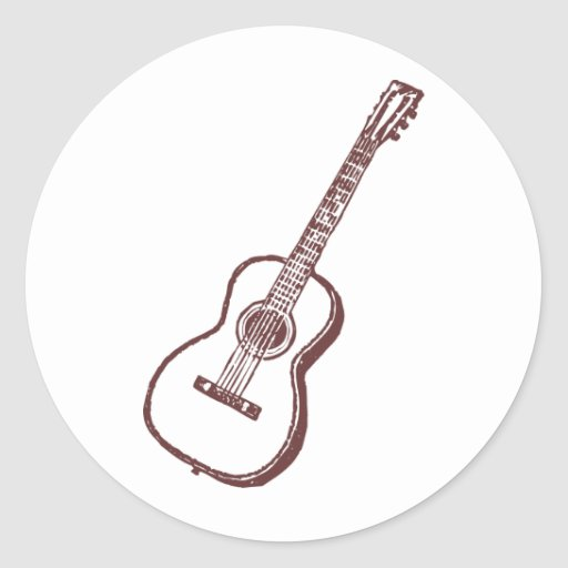 brown acoustic classical guitar classic round sticker zazzle. Black Bedroom Furniture Sets. Home Design Ideas