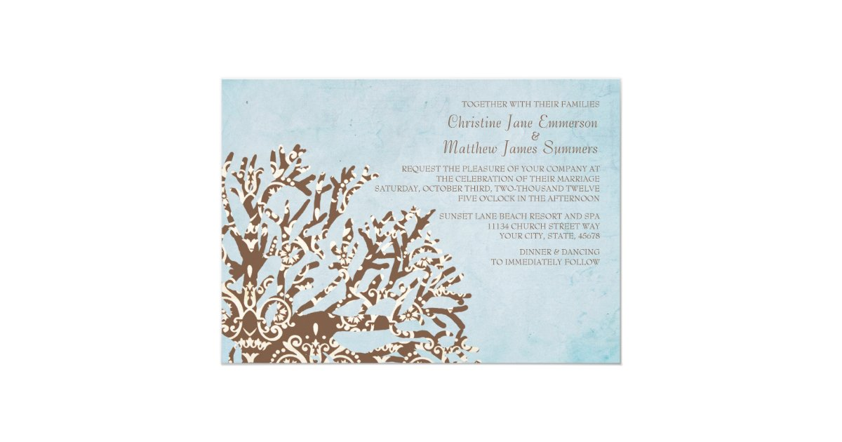 Coral And Teal Wedding Invitations: Brown And Teal Coral Beach Wedding Invitations