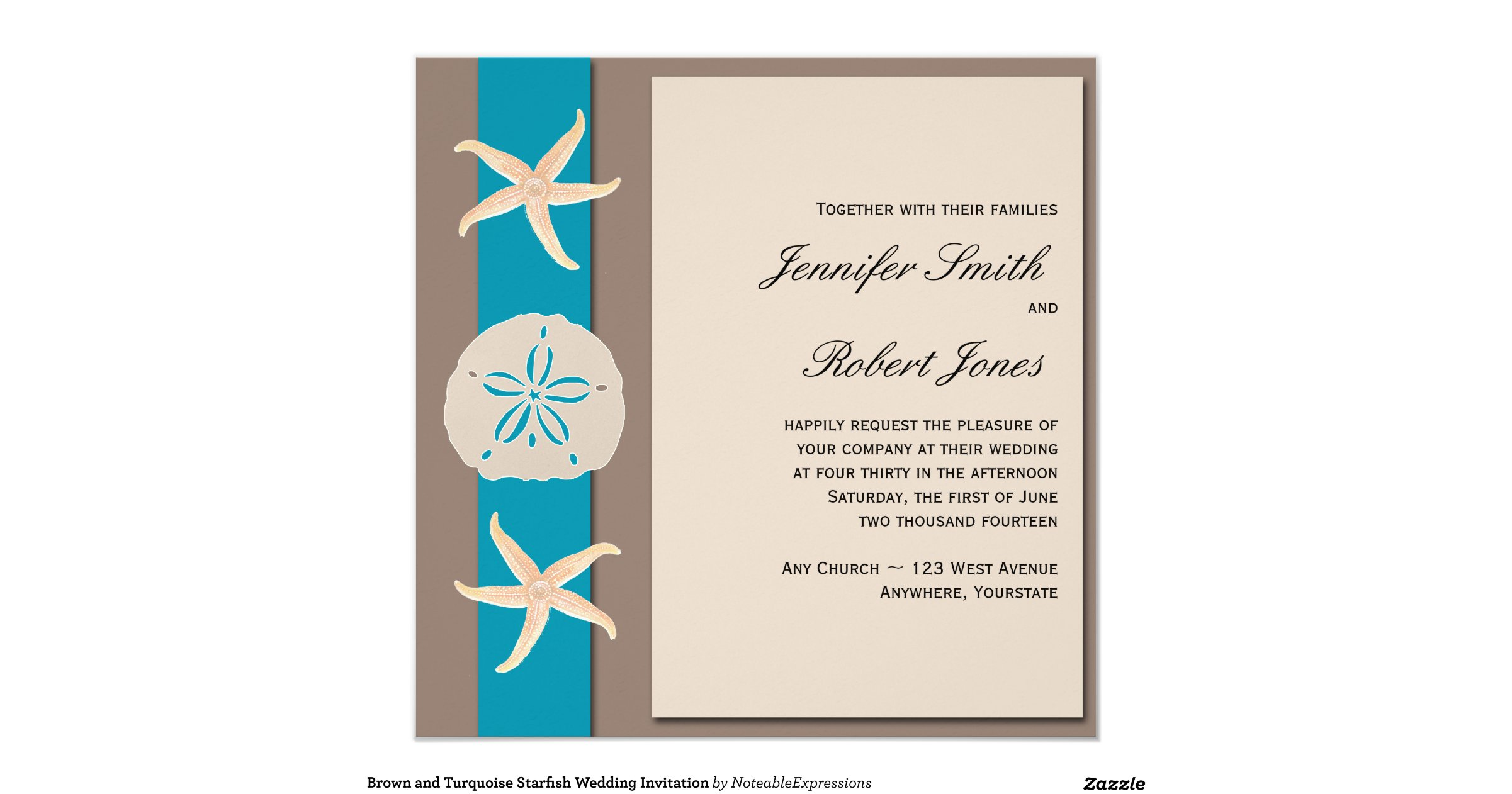 Turquoise And Brown Wedding Invitations: Brown_and_turquoise_band_starfish_wedding_invitation