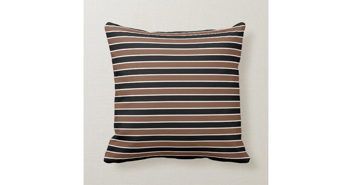 Brown, Black And White Stripes Throw Pillow