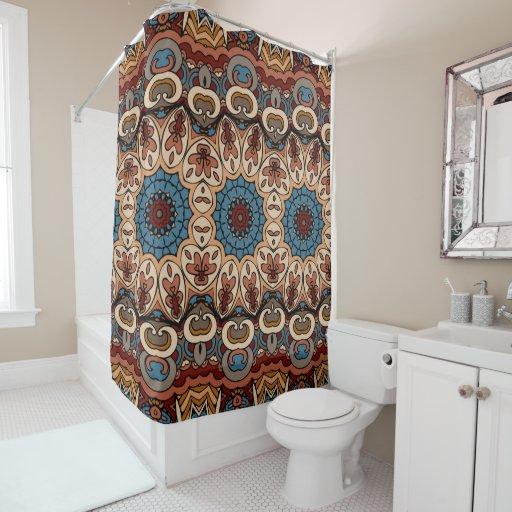 brown blue boho geometric pattern shower curtain zazzle. Black Bedroom Furniture Sets. Home Design Ideas