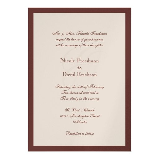 "Brown Border Shimmer Traditional Monogram Wedding 5"" X 7"