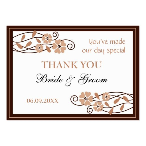 Brown Flowers Thank You Wedding Favor Gift Tags Business