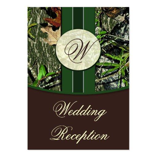 Camo Wedding Reception Ideas: Brown & Hunter Green Camo Wedding Reception Cards