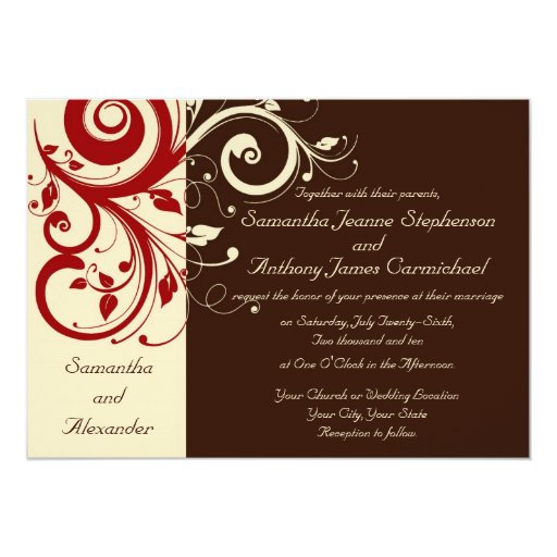 Wedding Invitations Red White And Black: Brown/Ivory/Red Reverse Swirl Wedding Invitations