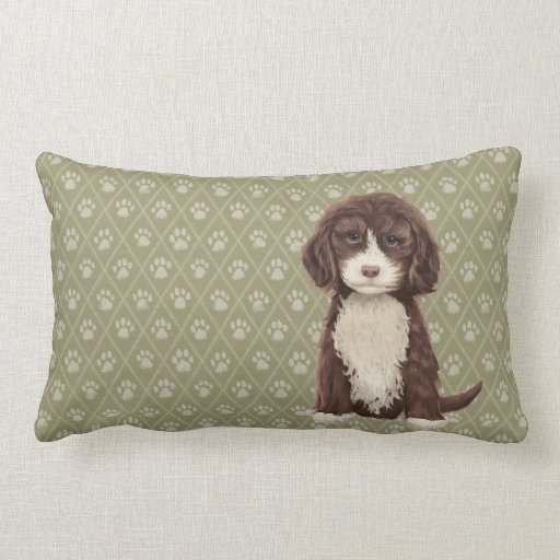 Brown Labradoodle Goldendoodle Dog Green Pillow Zazzle