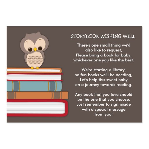 Brown Owl Baby Shower Book Insert Request Card Large