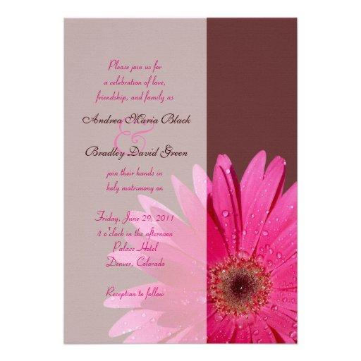 "Hot Pink Gerbera Daisy White Wedding Invitation 5 X 7: Brown & Pink Gerbera Daisy Wedding Invitation 5"" X 7"