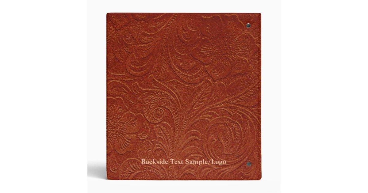 Brown Suede Leather Look Embossed Flowers 3 Ring Binder
