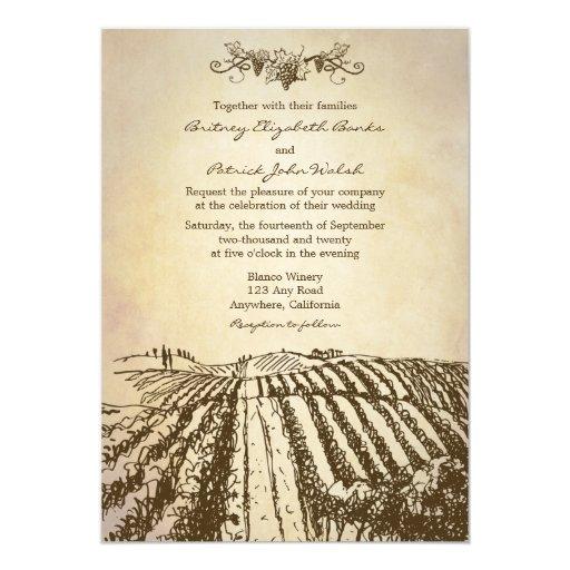 Winery Wedding Invitations: Brown Tuscan Winery Vineyard Wedding Invitations