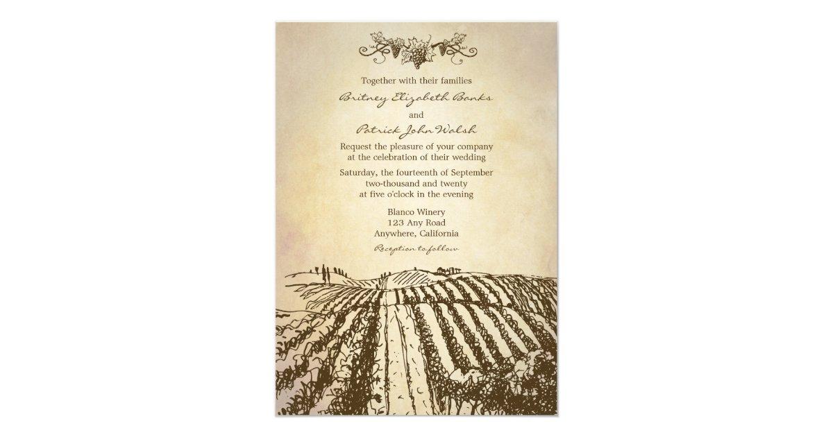 Tuscan Themed Wedding Invitations: Brown Tuscan Winery Vineyard Wedding Invitations