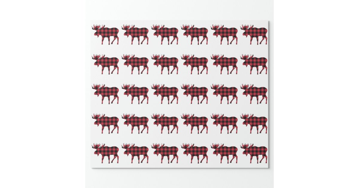 Buffalo Plaid Moose Lumberjack Style Red Black Wrapping