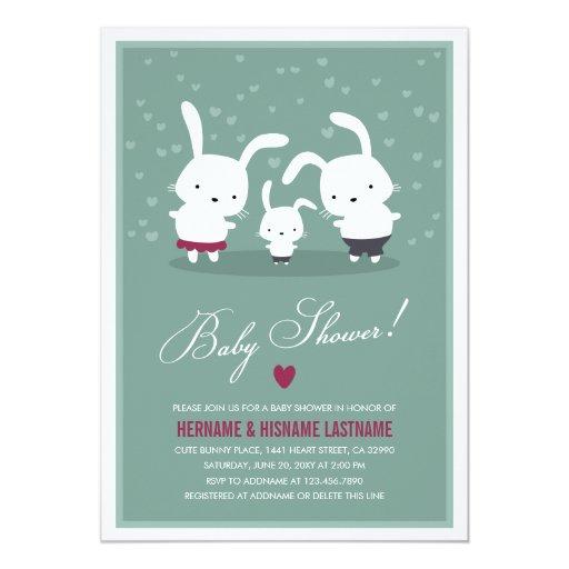 Family Baby Shower Invitations: Bunny Family Couples Baby Shower Invitation Teal