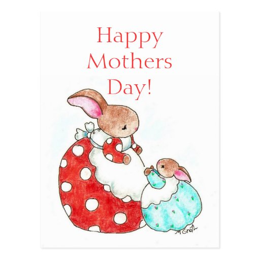 bunny Mother's Day post card | Zazzle