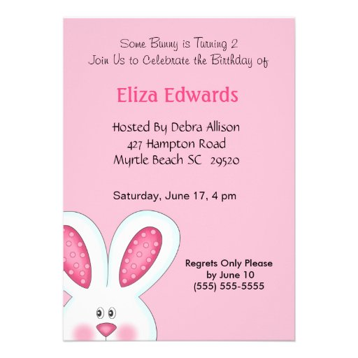 Personalized Bunny Invitations