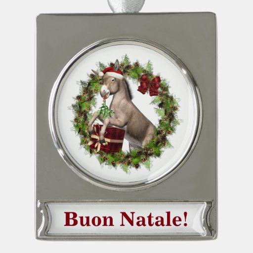 Buon Natale Christmas Donkey Banner Ornament | Zazzle
