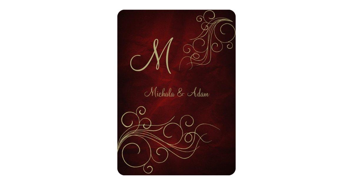 Burgundy Red Gold Elegant Monogram Swirl Card Zazzle