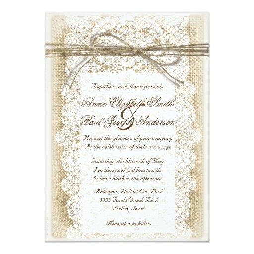 Burlap Invitations Wedding: Burlap And Lace Twine Bow Wedding Invitation