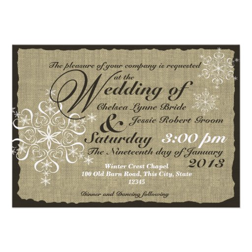 "Decorative Wedding Invitation Badge 7: Burlap And Snowflakes Wedding 5 X 7 5"" X 7"" Invitation"