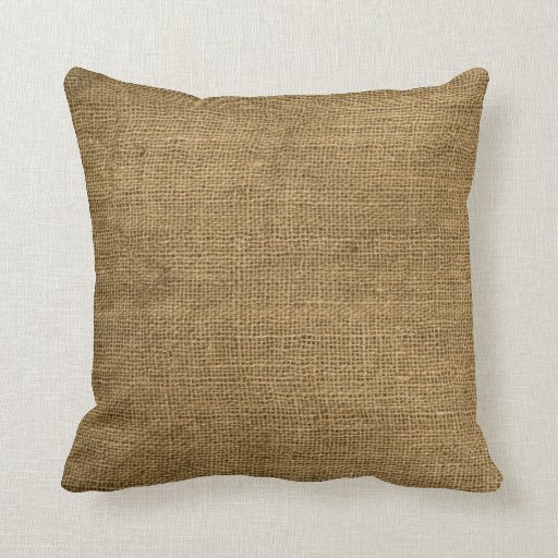 Burlap country rustic fabric throw couch pillow zazzle - Fabric for throw pillows ...