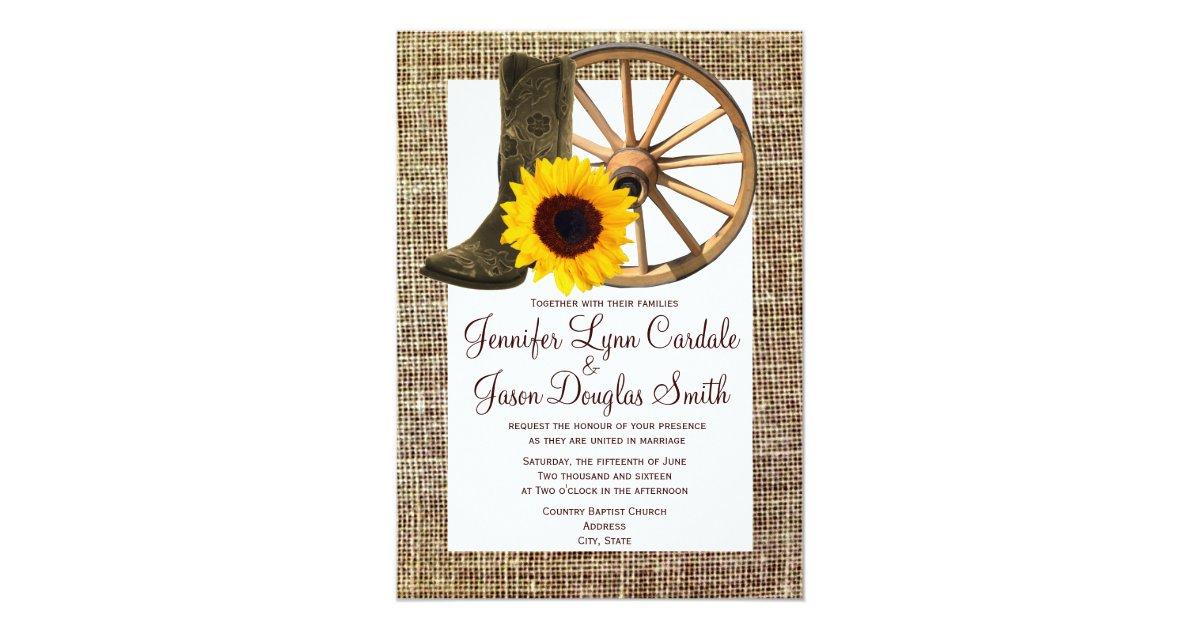 Cowboy Boot Wedding Invitations: Burlap Cowboy Boots Wagon Wheel Sunflower Wedding 5x7