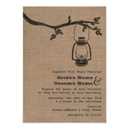 Outdoor Wedding Invitations: Burlap Inspired Outdoor / Camping Wedding 5x7 Paper