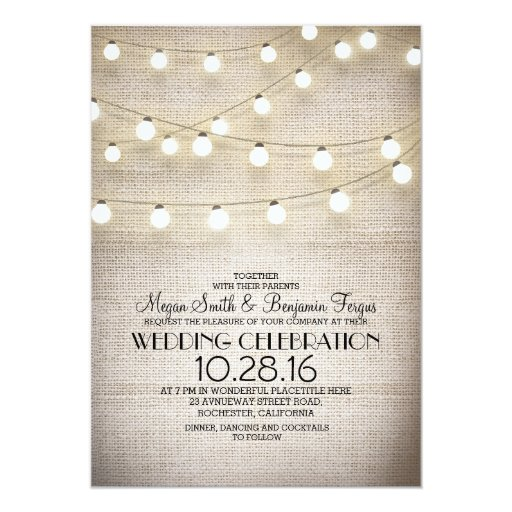 Wedding Engagement Party Invitations: Burlap Lace & String Lights Rustic Wedding Invites