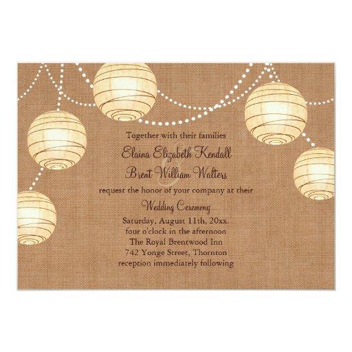 Burlap Invitations Wedding: Burlap Party Lanterns Wedding Invitation
