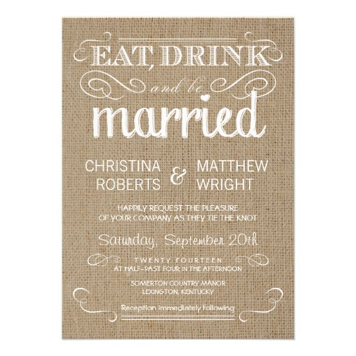 Country Wedding Invitation Wording: Burlap Rustic Country Wedding Invitations